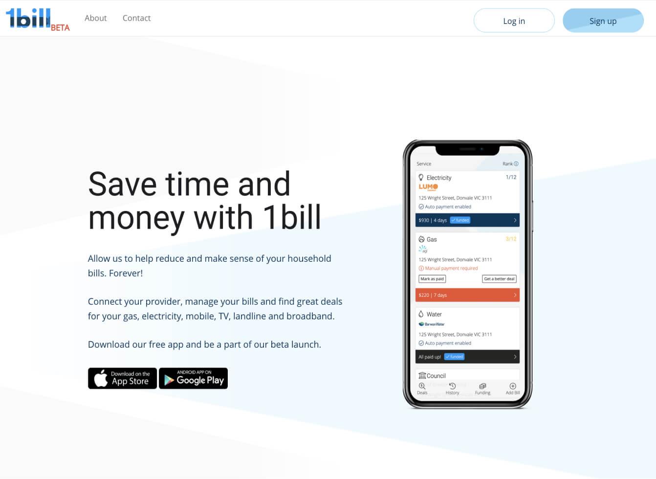 1bill challenge - old website preview