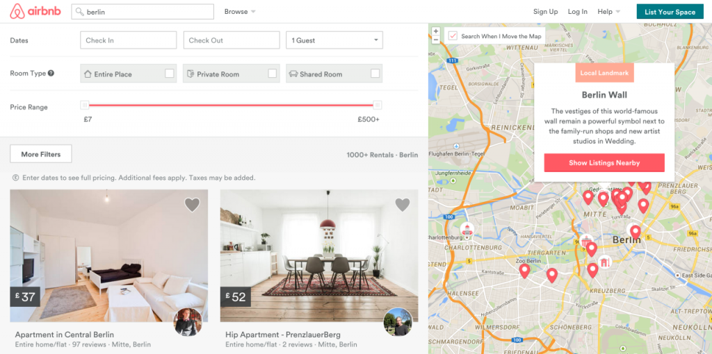 Airbnb search result raw studio - Growth