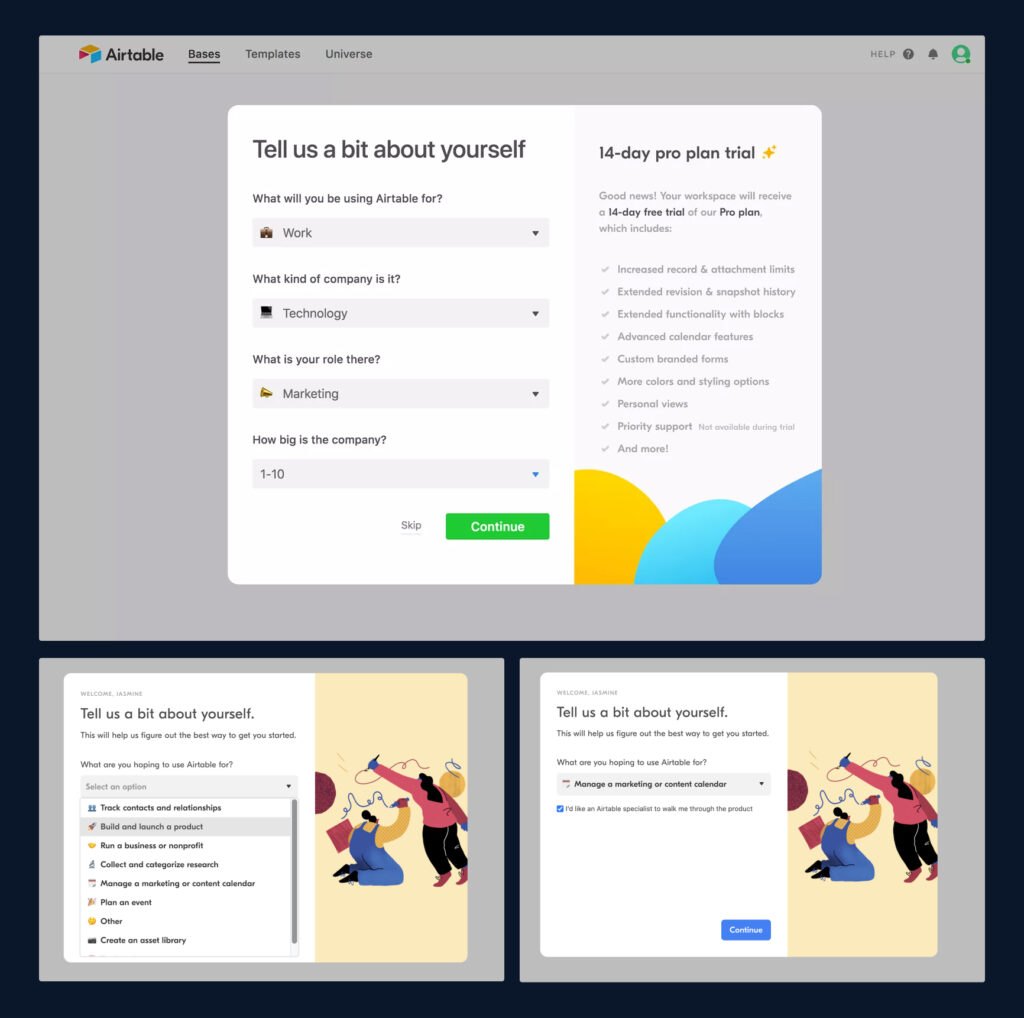 Airtable's onboarding process, where they ask the user to tell them a bit about what they'll use it for, what their role is, and info about the company