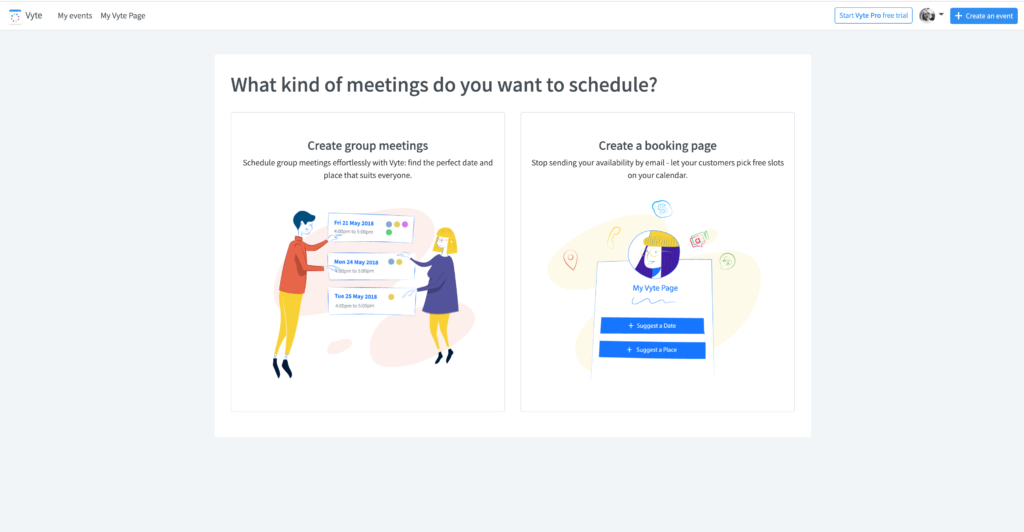 Part of Vyte's onboarding process - where users are asked if they want to schedule group meeting or booking pages