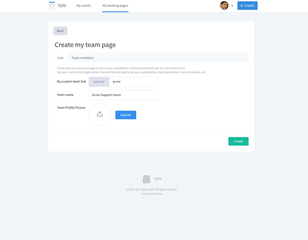 Custom create team. page inside Vyte