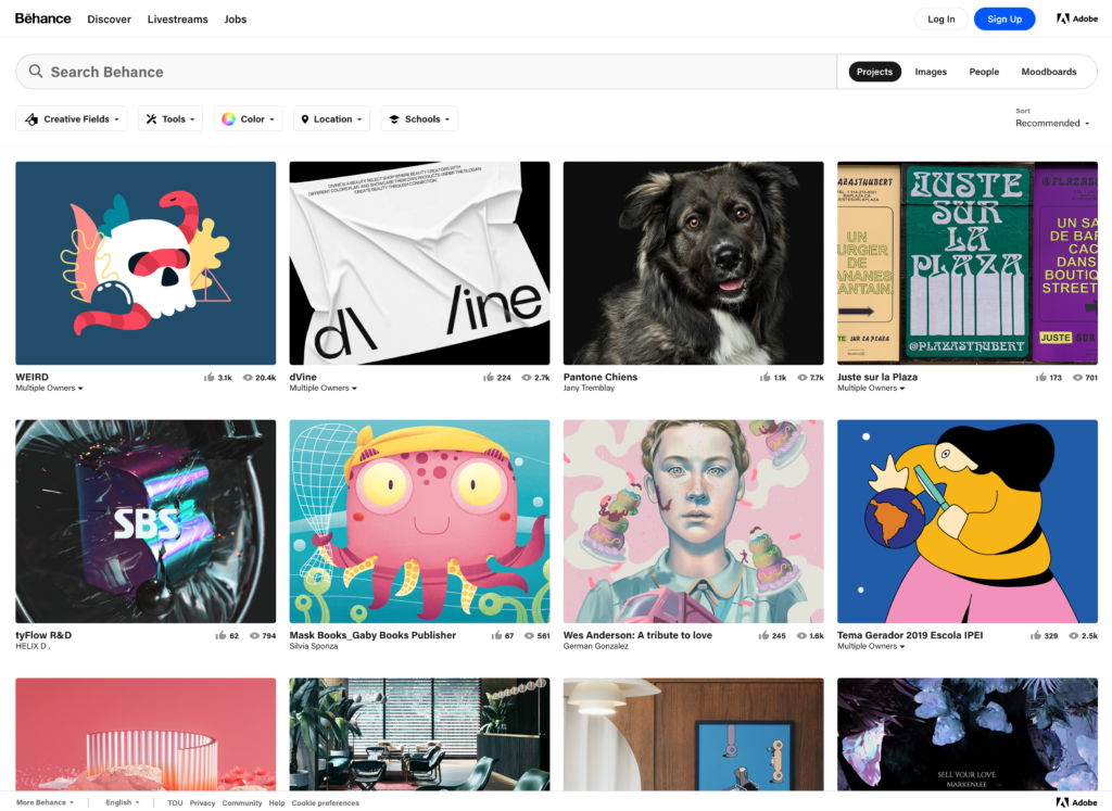 Behance, a platform where likeminded creatives can share their works within the design community