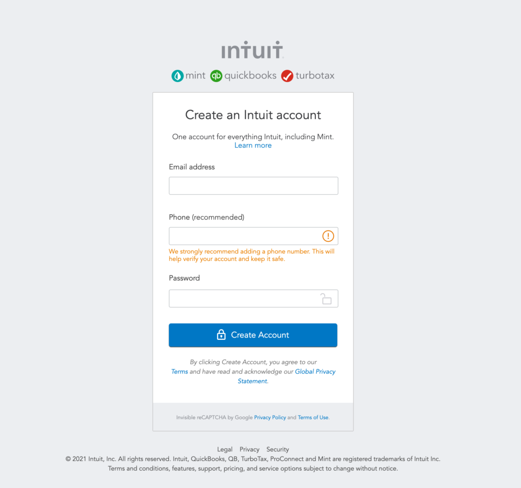 A simple sign in page for Intuit's platform Mint, where the user is encouraged to Create an Intuit Account