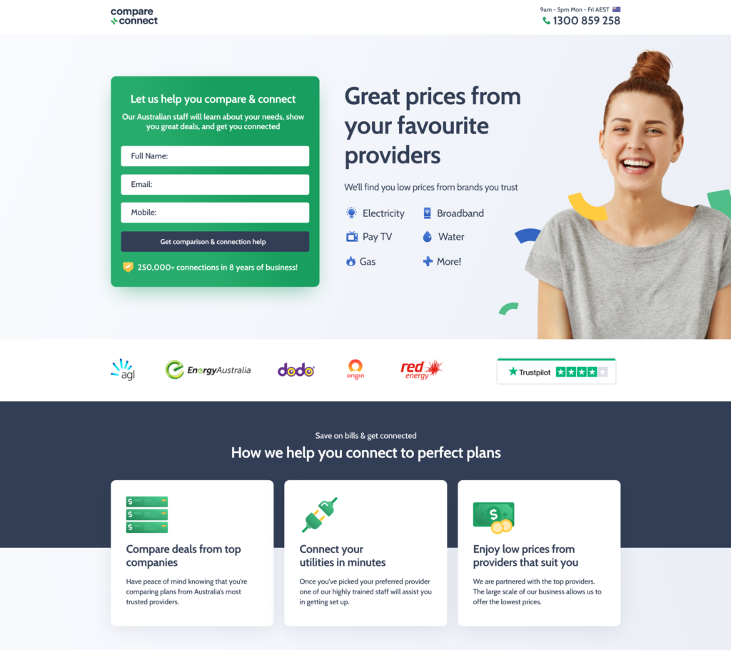 compare and connect displaying value on their sign up page