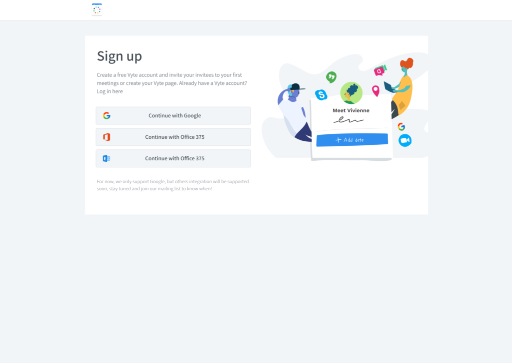 vyte sign up with socials