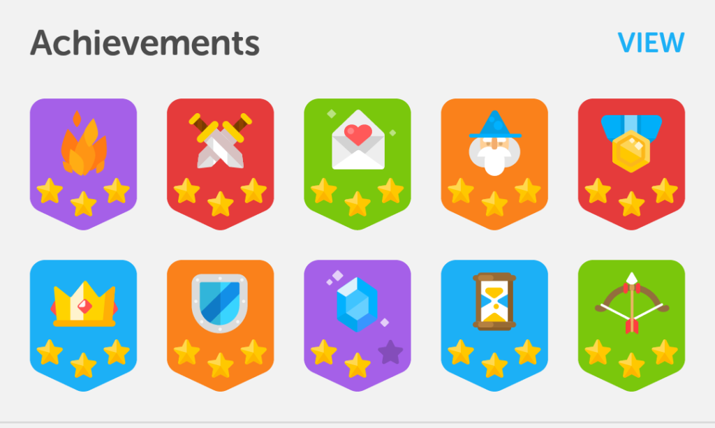 Duolingo's bright and colourful badges, encouraging their users to progress and succeed